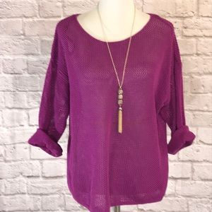 Lane Bryant  fuchsia  cotton sweater size 14/16